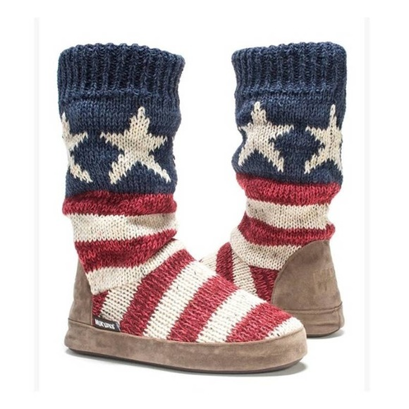 Muk Luks Sweater Knit Slipper Boots Patriotic